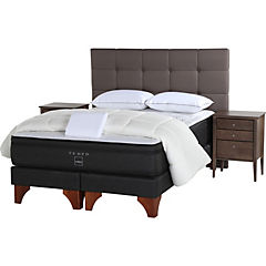 Cama Americana 2 Plazas Base Dividida + Muebles Issey + Textil