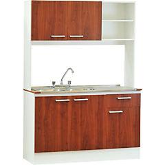 Kit mueble para lavaplatos 134x190x50 cm Cerezo