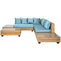 Seccional de terraza con mesa  lateral 195x174x80 cm turquesa