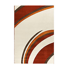 Alfombra 133x190 cm curvas crema/naranjo