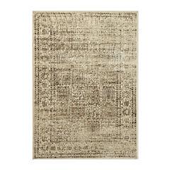 Alfombra viscosa 67x105 cm cuadro beige
