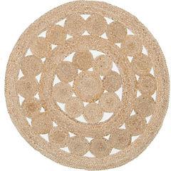 Alfombra de yute natural redonda calada natural 150x150 cm