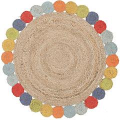 Alfombra de yute redonda multicolor 120x120 cm