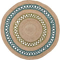 Alfombra de yute calado esmeralda 120x120 cm