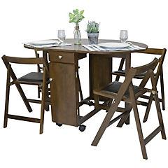 Mesa arrimo plegable con cuatro sillas