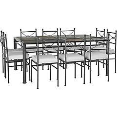 Comedor franja de piedra 10 sillas nudo negro craquelado