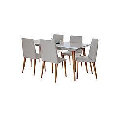 Comedor 160x90 cm madera vidrio 6 sillas