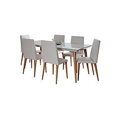 Comedor 180x90 cm madera vidrio 6 sillas