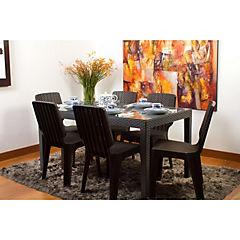 Set mesa rectangular con vidrio 145x85 cm + 6 sillas tavarua