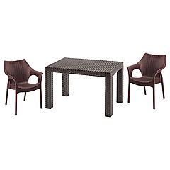 Set de balcón 2 sillas con brazos + mesa centro rectangular 70x48 cm