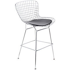 Silla metal cromado 57x55x112 cm negro