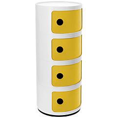 Organizador bicolor 4 cuerpos 33x33x78 cm blanco puerta amarilla
