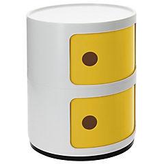 Organizador bicolor 2 cuerpos 33x33x42 cm blanco puerta amarilla