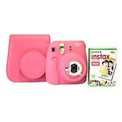 Cámara instax mini 9 rosada + pack 10 peliculas + estuche protector
