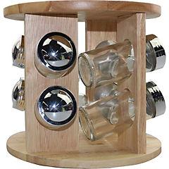 Rack madera con 6 especieros de vidrio
