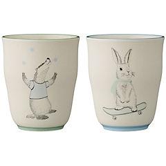 Vaso decorativo marius animales cerámica blanca, 2 modelos