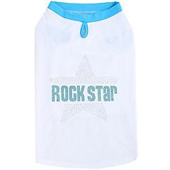 Camiseta de rockstar con brillos para perros azul,talla L