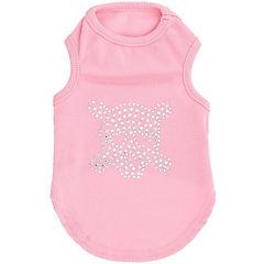 Camiseta de calavera con brillos para perros rosado talla XS