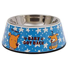 Plato de comida para mascota ,acero inoxidable y melamina 300 g,azul