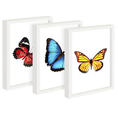 Set 3 cuadros 22x27 cm marco  diseño mariposas
