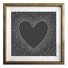 Cuadro 40x40 cm marco dorado corazón negro