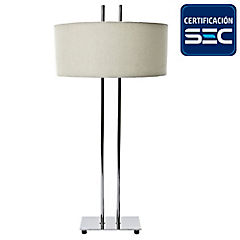 Lámpara de mesa h cromo 2 luces E27 40W