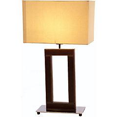Lámpara de mesa cromo cuero E27 40W
