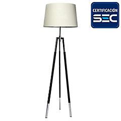 Lámpara de pie treo cromo cuero 2 luces E27 40W