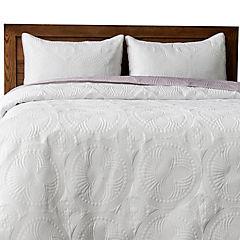 Quilt bicolor purpura blanco 1.5p