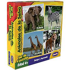Set 4 Puzzle cartón 24 piezas selva