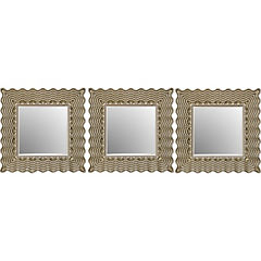 Set de 3 espejos cuadrados 25x25 cm dorado