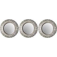 Set de 3 espejos redondos 25 cm plata