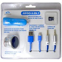 Kit 5 en 1 microsd, soporte, cargador, cable microusb, cable aux azul