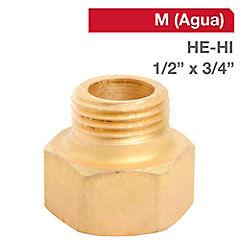 Niple Tuerca bronce 1/2 HE x 3/4 HI BSP