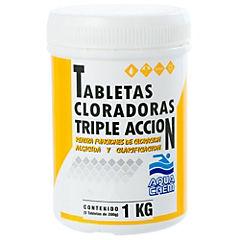 Cloro en tabletas para piscinas triple acción, 1 kilo