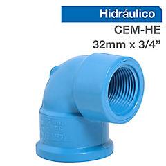 Codo PVC a presión 32 mmx3/4