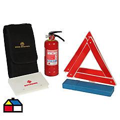 Set seguridad para el auto, extintor, triángulos, botiquín.