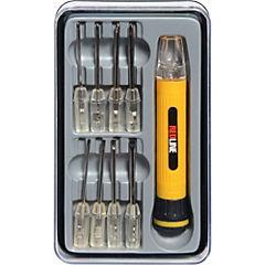 Set de destornilladores y linterna acero 9 unidades