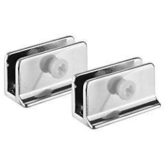 Soporte de vidrio rectangular cromado 1 par