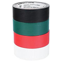 Pack 4 Cintas eléctricas ailante de PVC con adhesivo sensitivo a la presión, 3/4x5m.