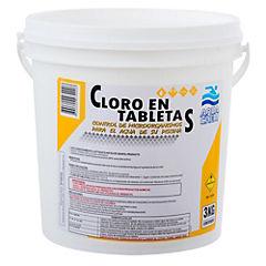 Cloro en tabletas para piscinas 3 kg tineta