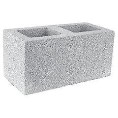 190x190x390 mm Bloque Cemento Económico Liso Gris