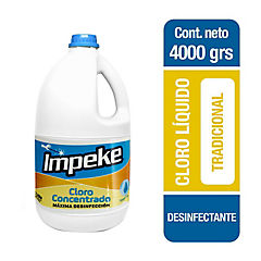 Cloro líquido concentrado 4 litros botella