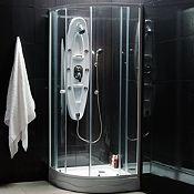 Combo Cabina de ducha redonda + Columna hidromasaje de ducha fibra de vidrio Blanca 130x30cm