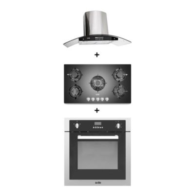 Combo Campana Venus Plus 90 cm + Cocina Empotrable + Horno Empotrable Sole