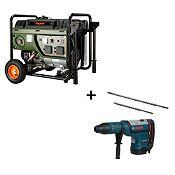 Combo Generador Gasolina 2400 W + Martillo Perforador 1700 W + 2 Brocas Max