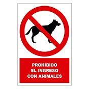 Señal prohibido el ingreso con animales