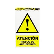 Señal atención riesgo accidente 22.5x15 cm