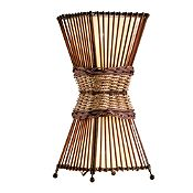 Lámpara de mesa Bambú café