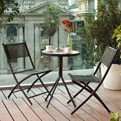 Juego de balc n capuccino 2 sillas for Mesa colgante para balcon